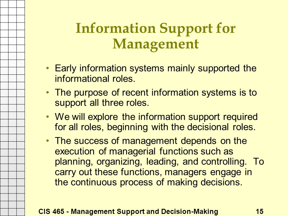 informational roles of the manager Through the interpersonal roles a manager acquires information, and through the decisional roles it is put into use the scope for each manager to choose a different blend of roles means that management is not reducible to a set of scientific statements and programmes.