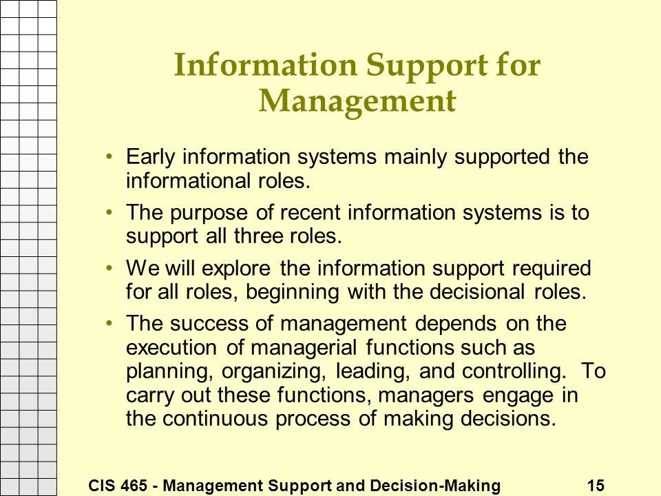 Information Support for Management