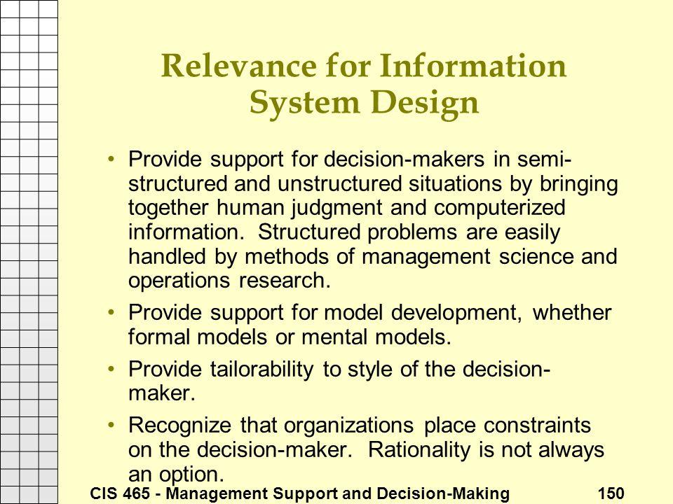 Relevance for Information System Design