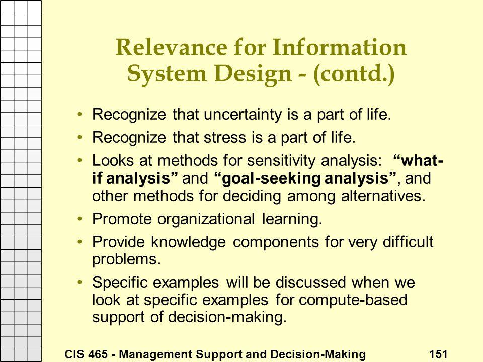 Relevance for Information System Design - (contd.)