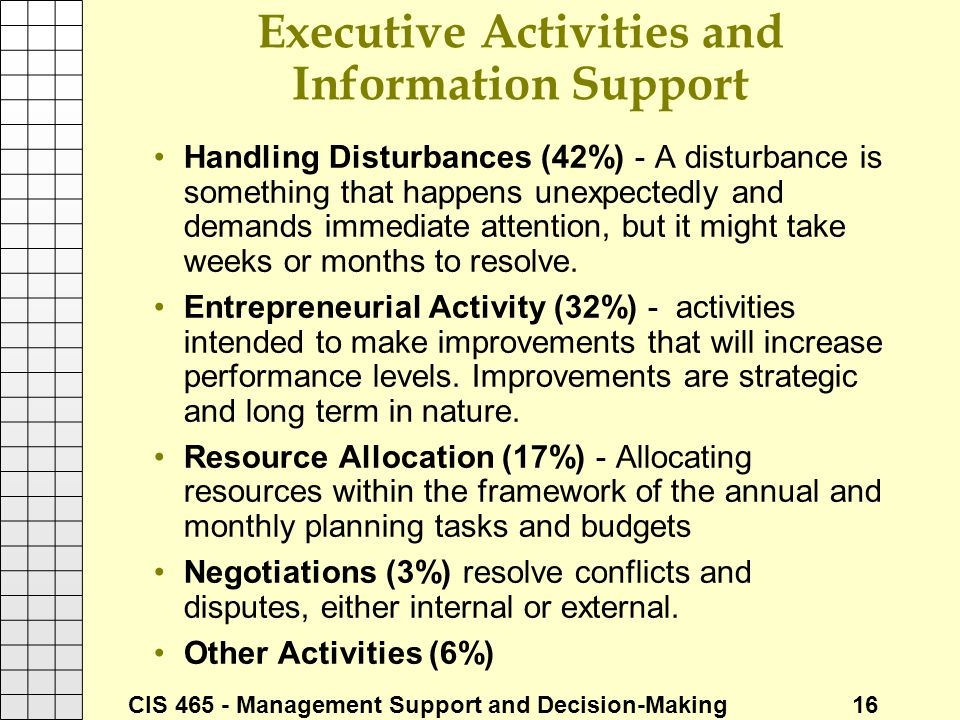 Executive Activities and Information Support