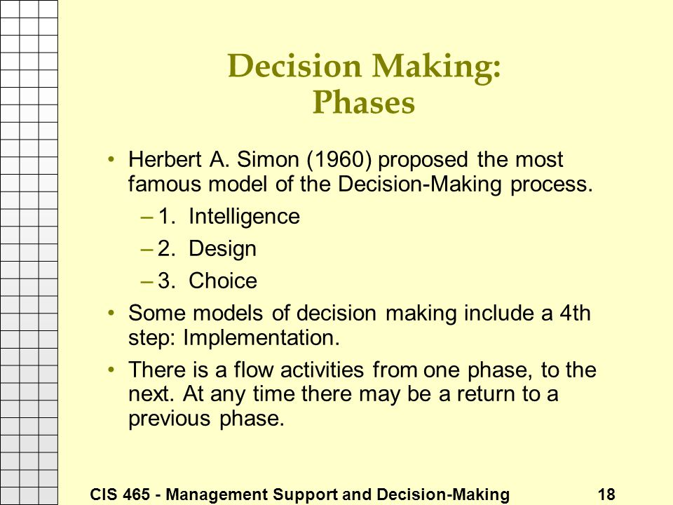 Decision Making: Phases