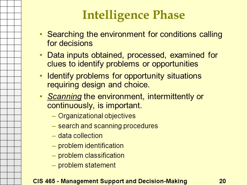 Intelligence Phase Searching the environment for conditions calling for decisions.