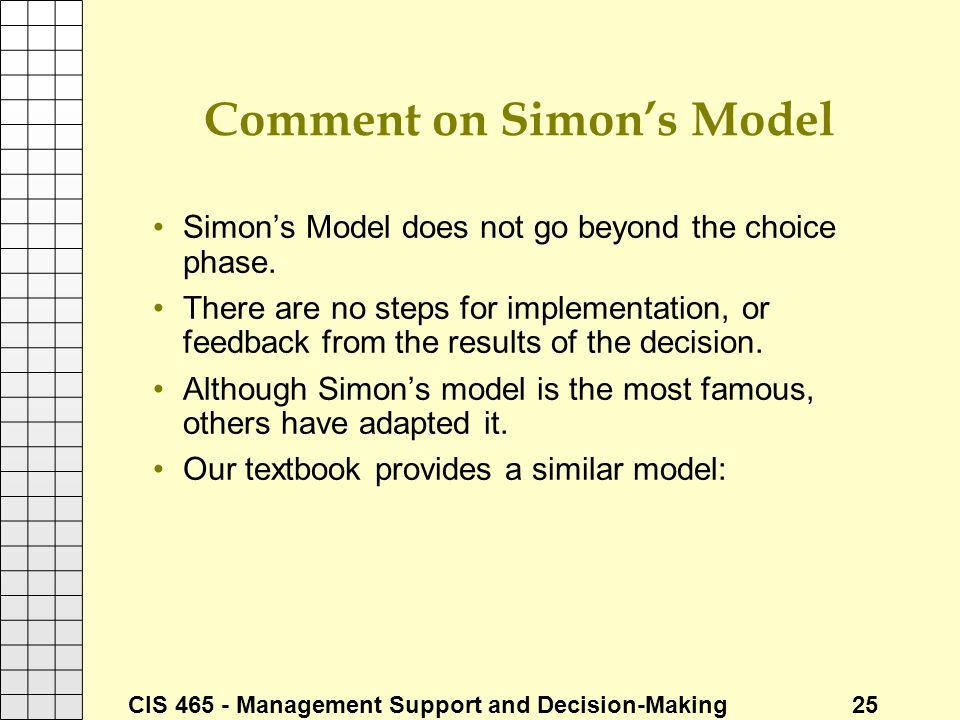 Comment on Simon's Model