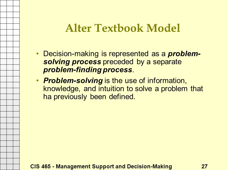 Alter Textbook Model Decision-making is represented as a problem-solving process preceded by a separate problem-finding process.
