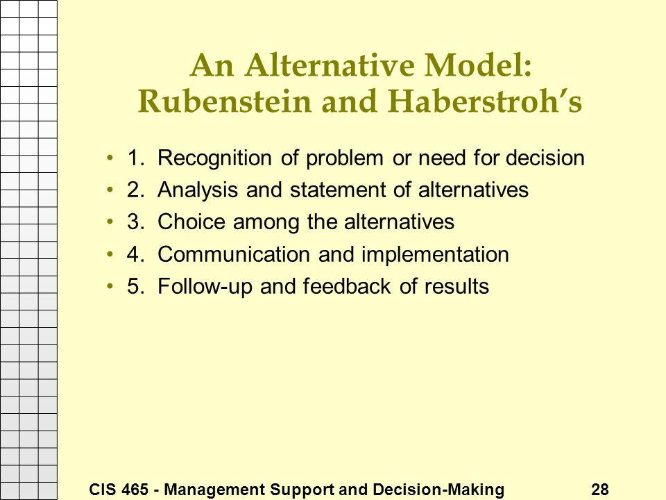 An Alternative Model: Rubenstein and Haberstroh's