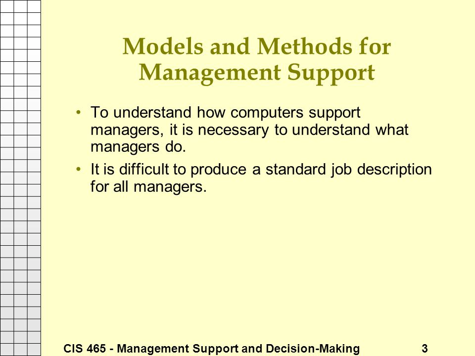 Models and Methods for Management Support