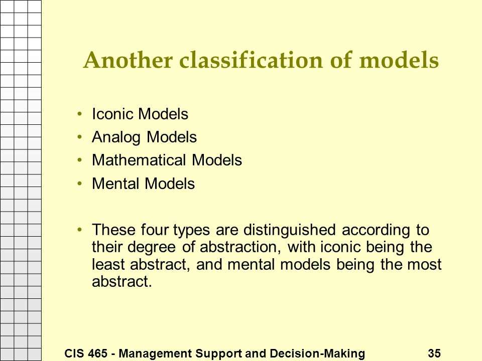 Another classification of models
