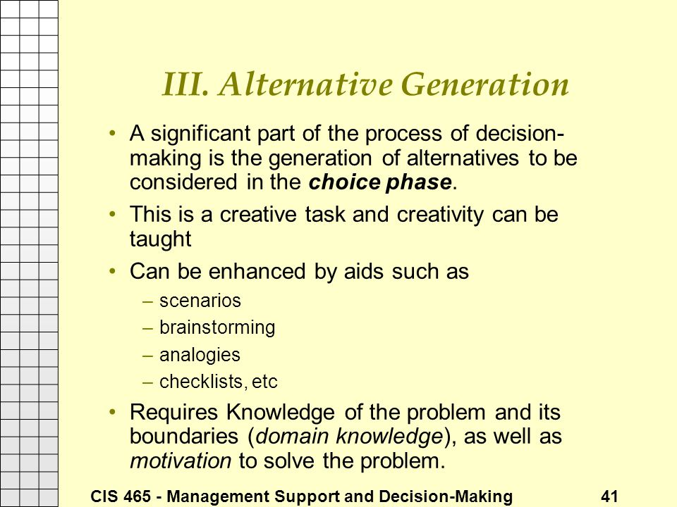 III. Alternative Generation