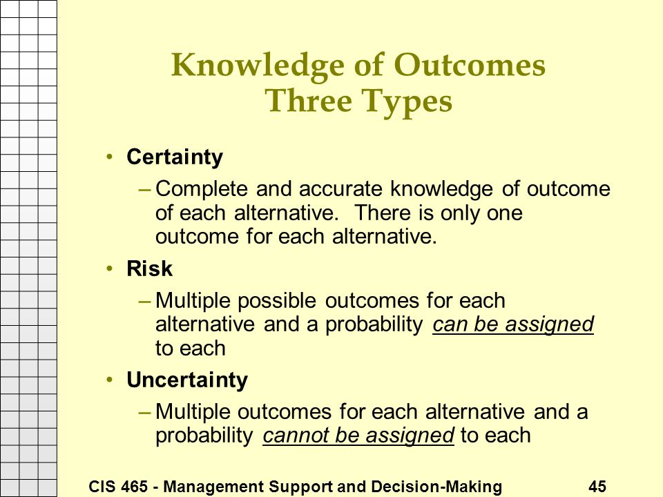 Knowledge of Outcomes Three Types