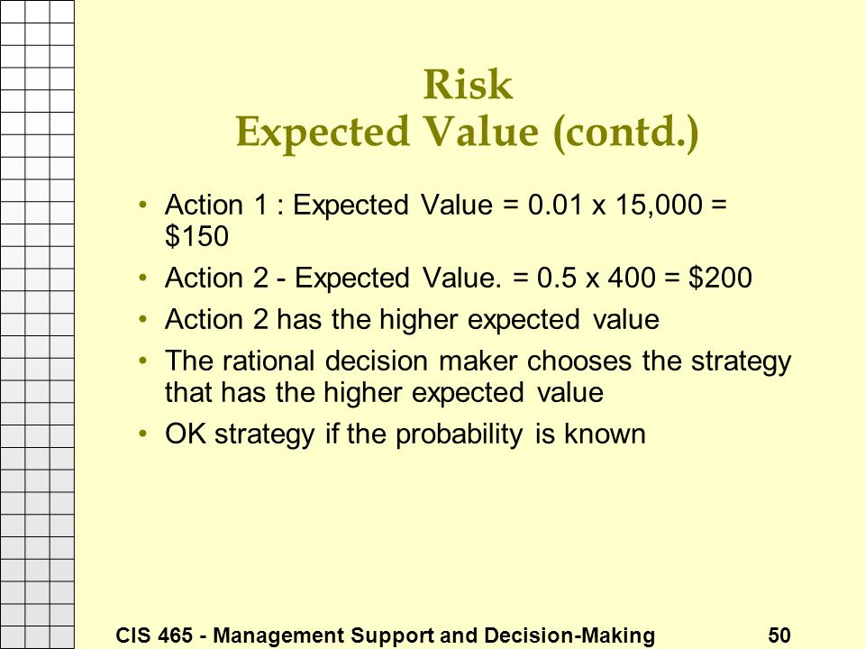 Risk Expected Value (contd.)