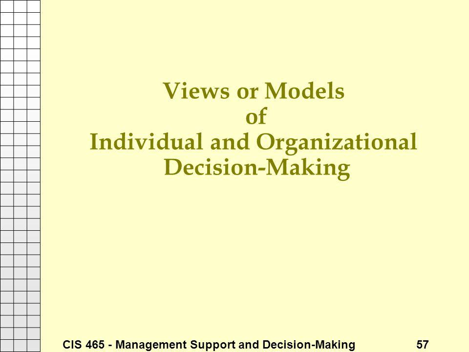 Views or Models of Individual and Organizational Decision-Making