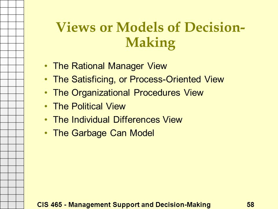 Views or Models of Decision-Making