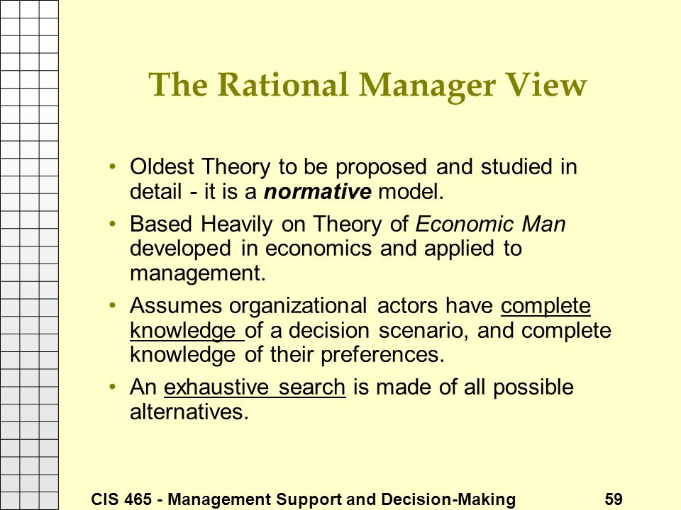 The Rational Manager View