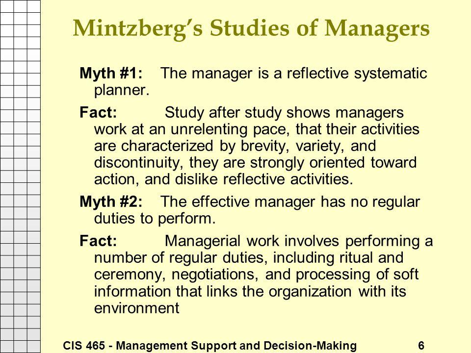 Mintzberg's Studies of Managers
