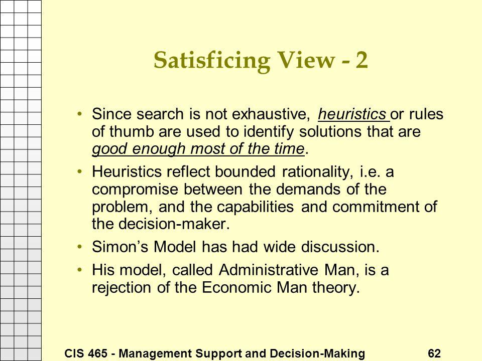 Satisficing View - 2