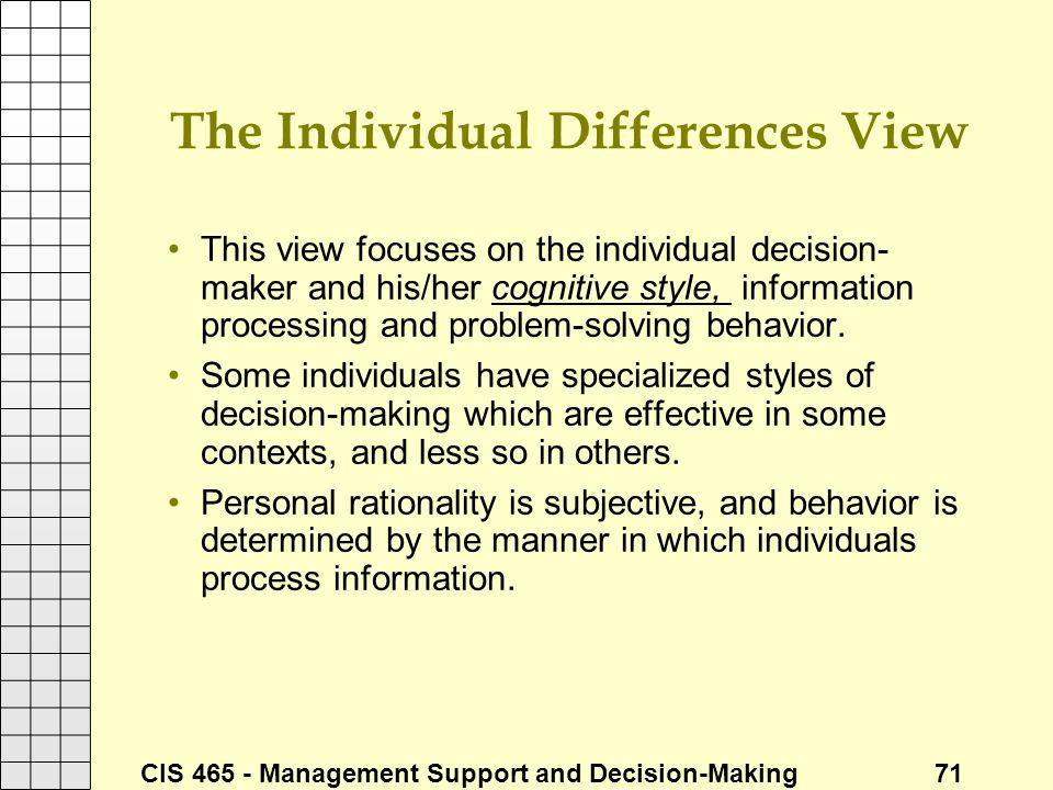 The Individual Differences View