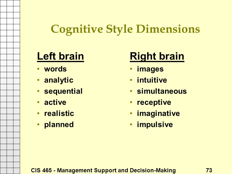 Cognitive Style Dimensions