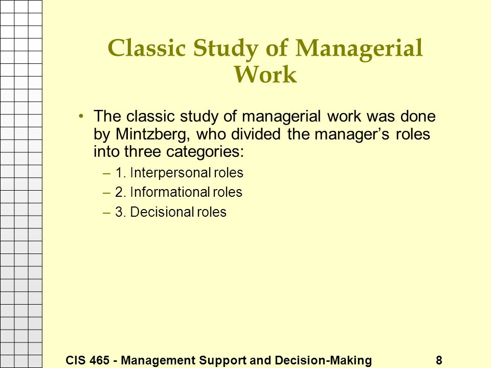 Classic Study of Managerial Work