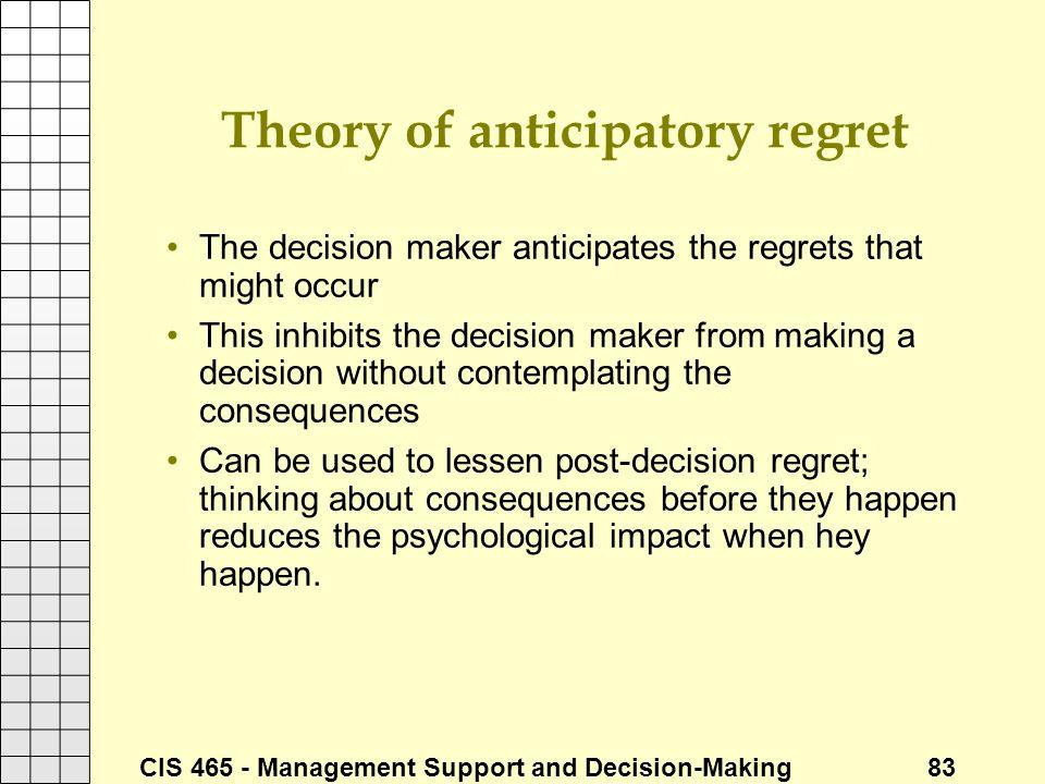 Theory of anticipatory regret