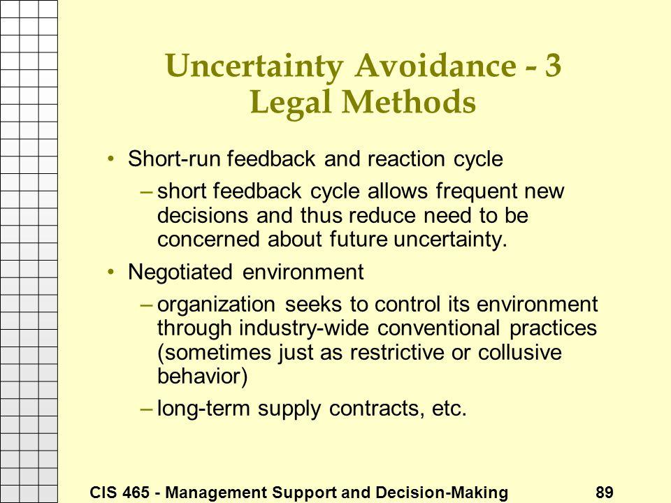 Uncertainty Avoidance - 3 Legal Methods