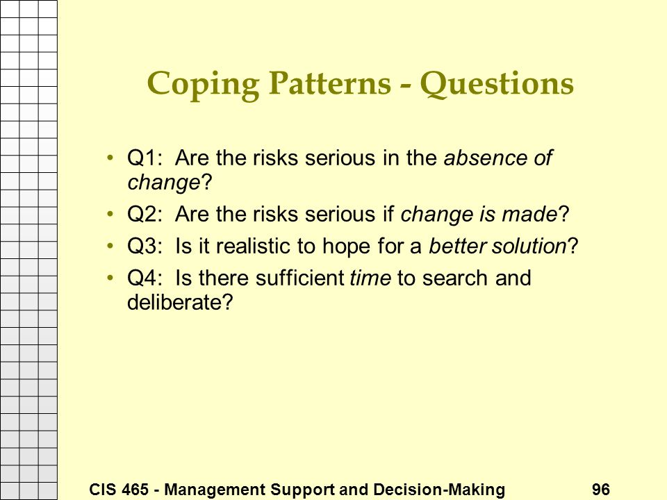 Coping Patterns - Questions