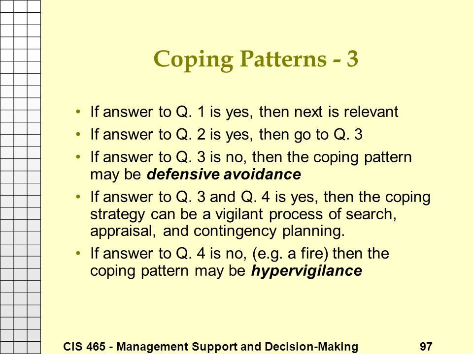Coping Patterns - 3 If answer to Q. 1 is yes, then next is relevant