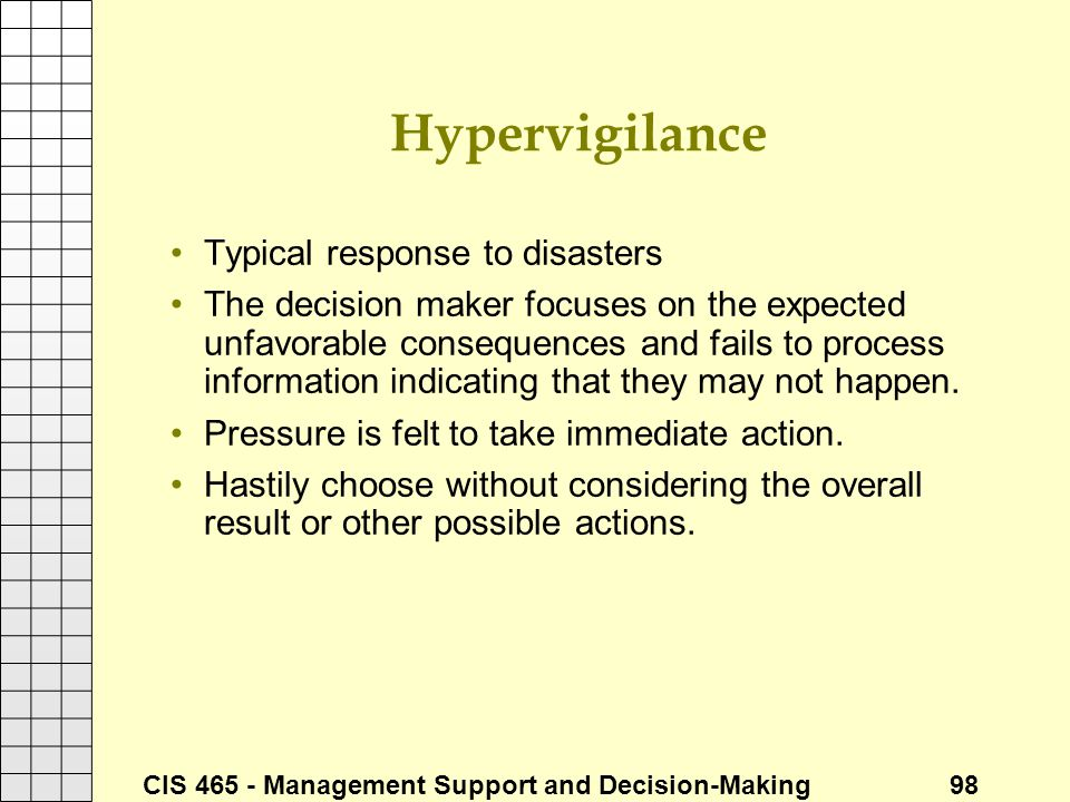 Hypervigilance Typical response to disasters