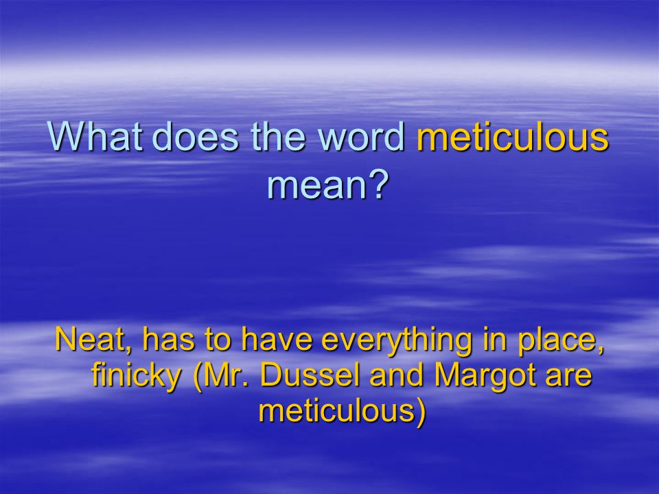 What does the word meticulous mean