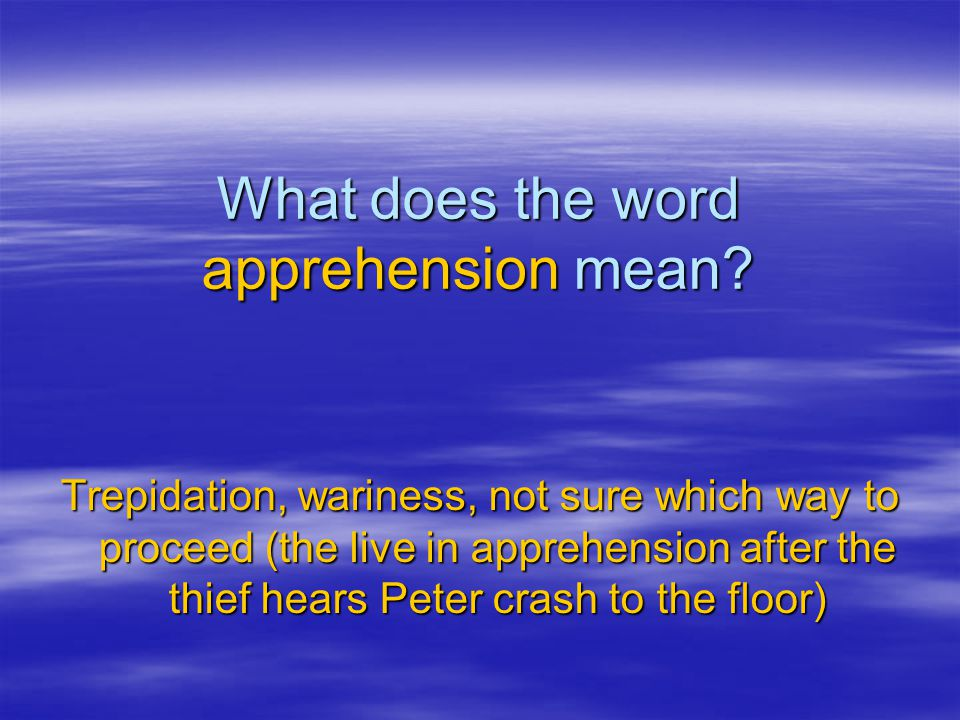 What does the word apprehension mean