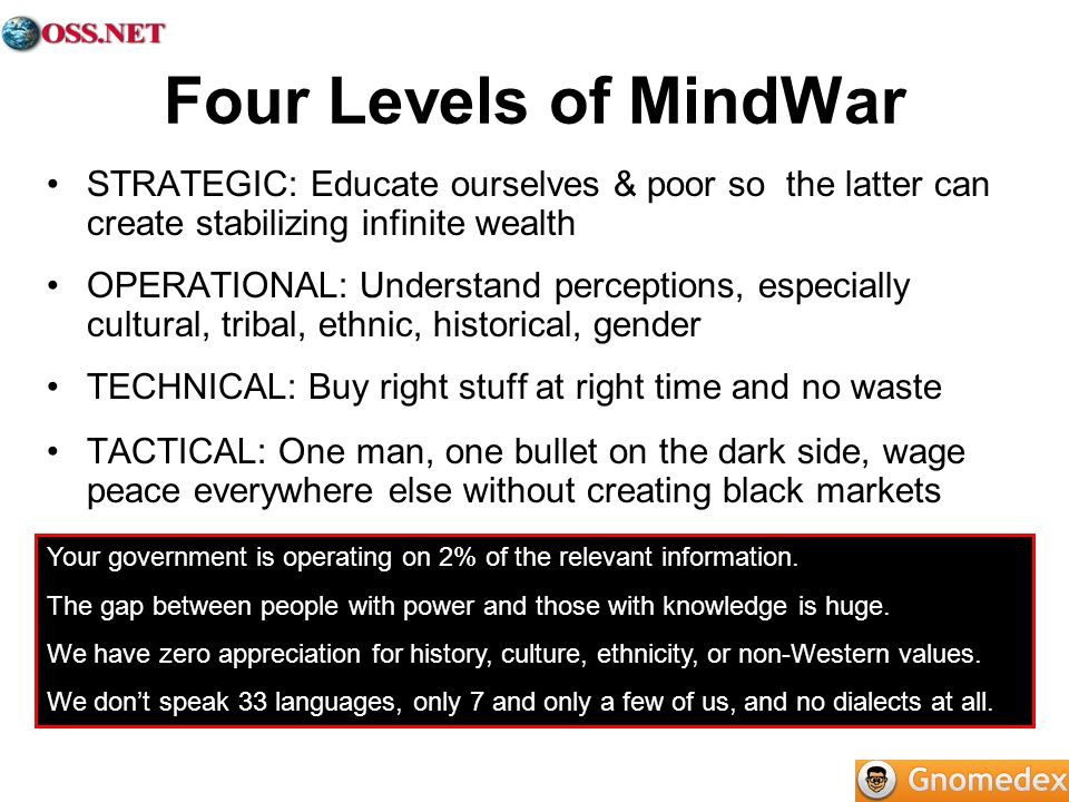 Four Levels of MindWarSTRATEGIC: Educate ourselves & poor so the latter can create stabilizing infinite wealth.