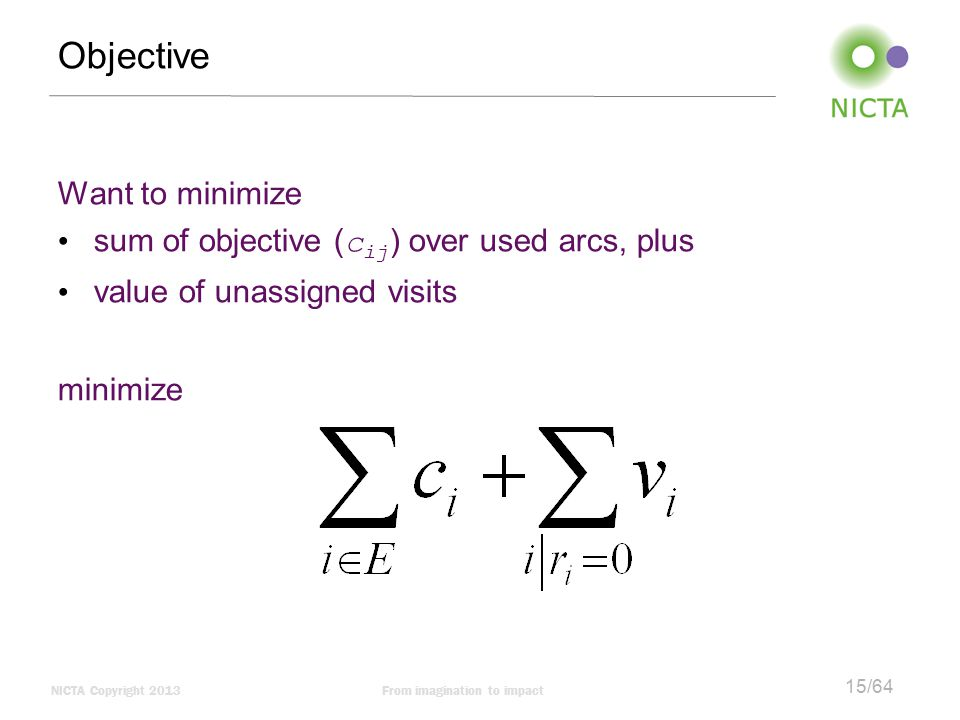 Objective Want to minimize sum of objective (cij) over used arcs, plus