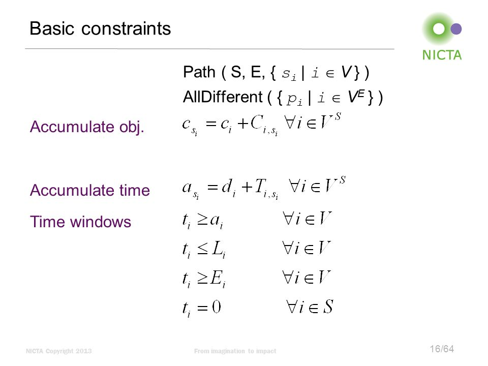 Basic constraints Path ( S, E, { si | i  V } )