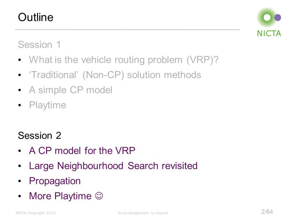 Outline Session 1 What is the vehicle routing problem (VRP)