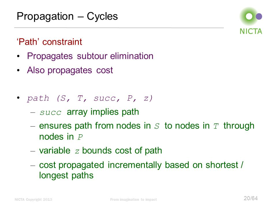Propagation – Cycles 'Path' constraint Propagates subtour elimination