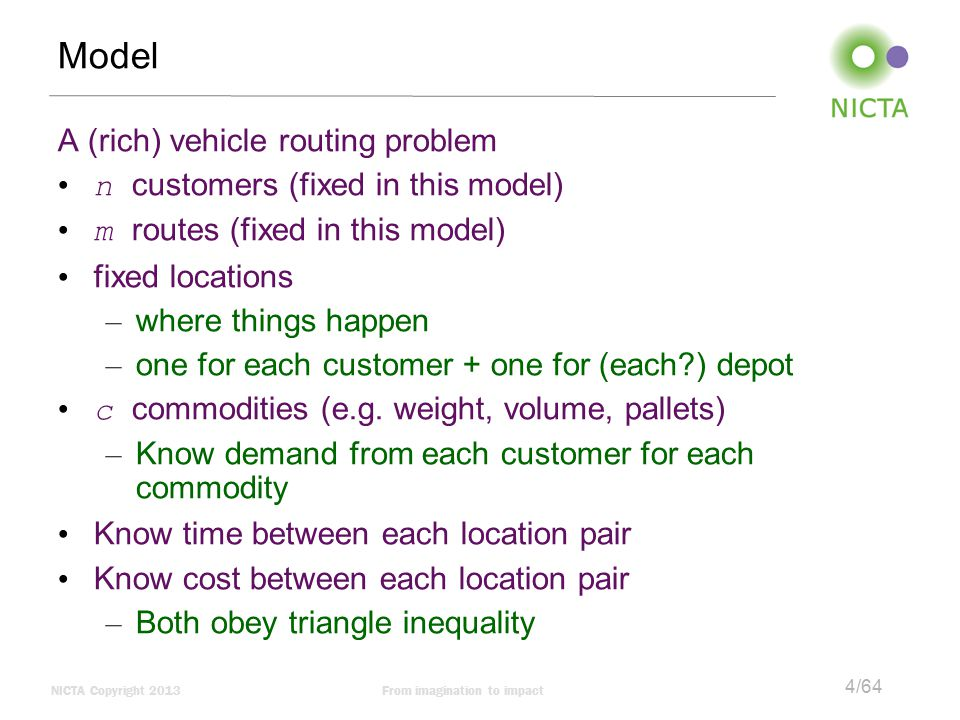 Model A (rich) vehicle routing problem