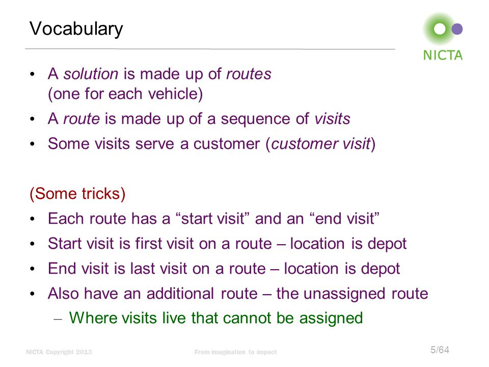 Vocabulary A solution is made up of routes (one for each vehicle)