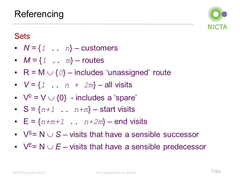 Referencing Sets N = {1 .. n} – customers M = {1 .. m} – routes