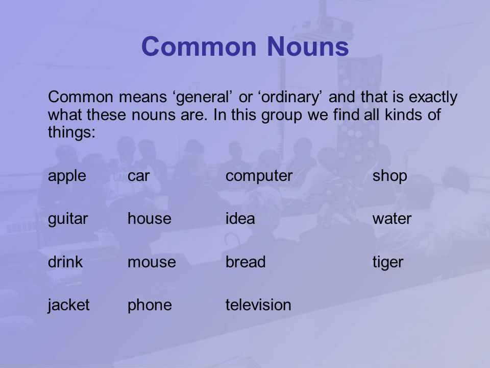 Common Nouns Common means 'general' or 'ordinary' and that is exactly what these nouns are. In this group we find all kinds of things: