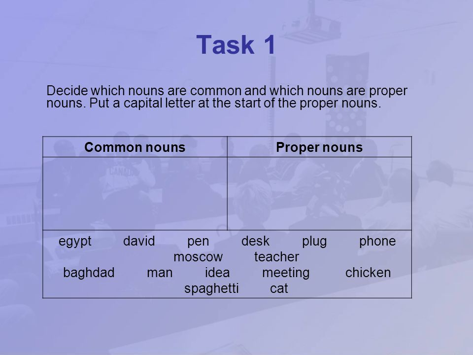 Task 1 Decide which nouns are common and which nouns are proper nouns. Put a capital letter at the start of the proper nouns.
