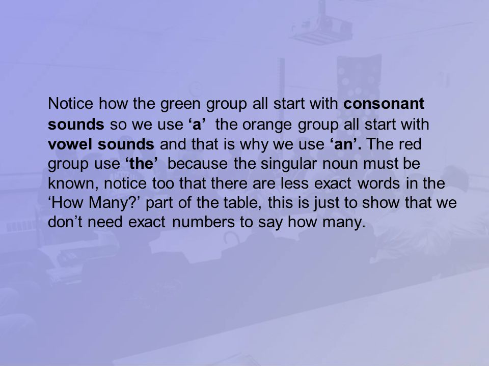 Notice how the green group all start with consonant sounds so we use 'a' the orange group all start with vowel sounds and that is why we use 'an'.