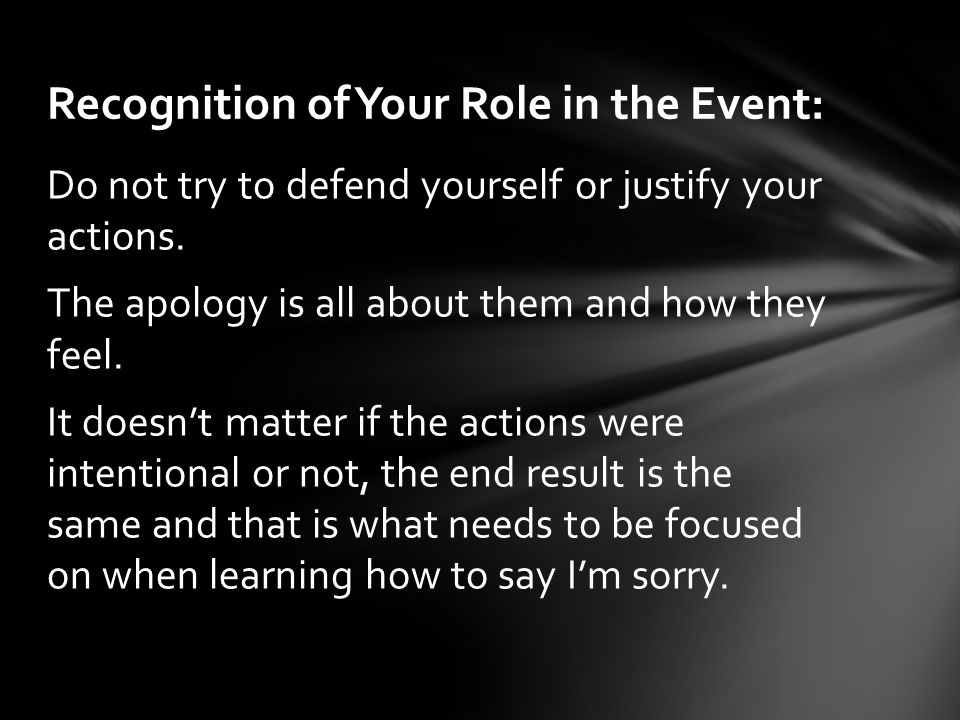Recognition of Your Role in the Event: