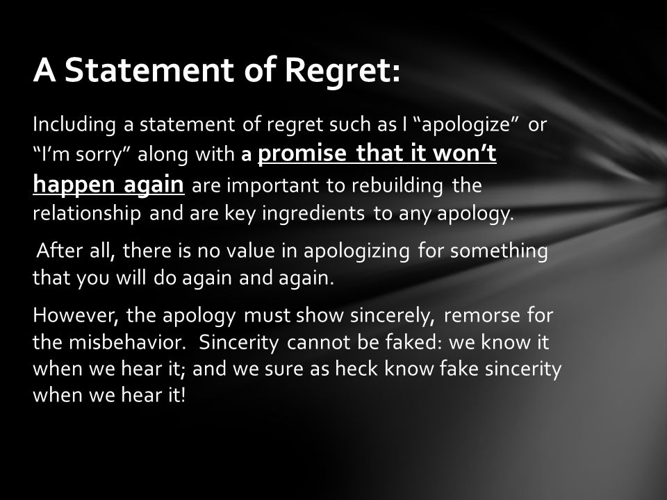 A Statement of Regret: