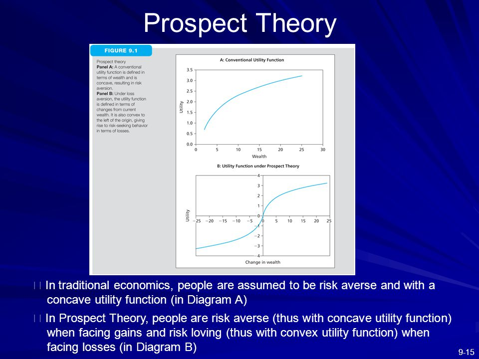 Prospect Theory ※ In traditional economics, people are assumed to be risk averse and with a concave utility function (in Diagram A)