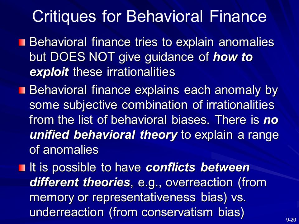 Critiques for Behavioral Finance