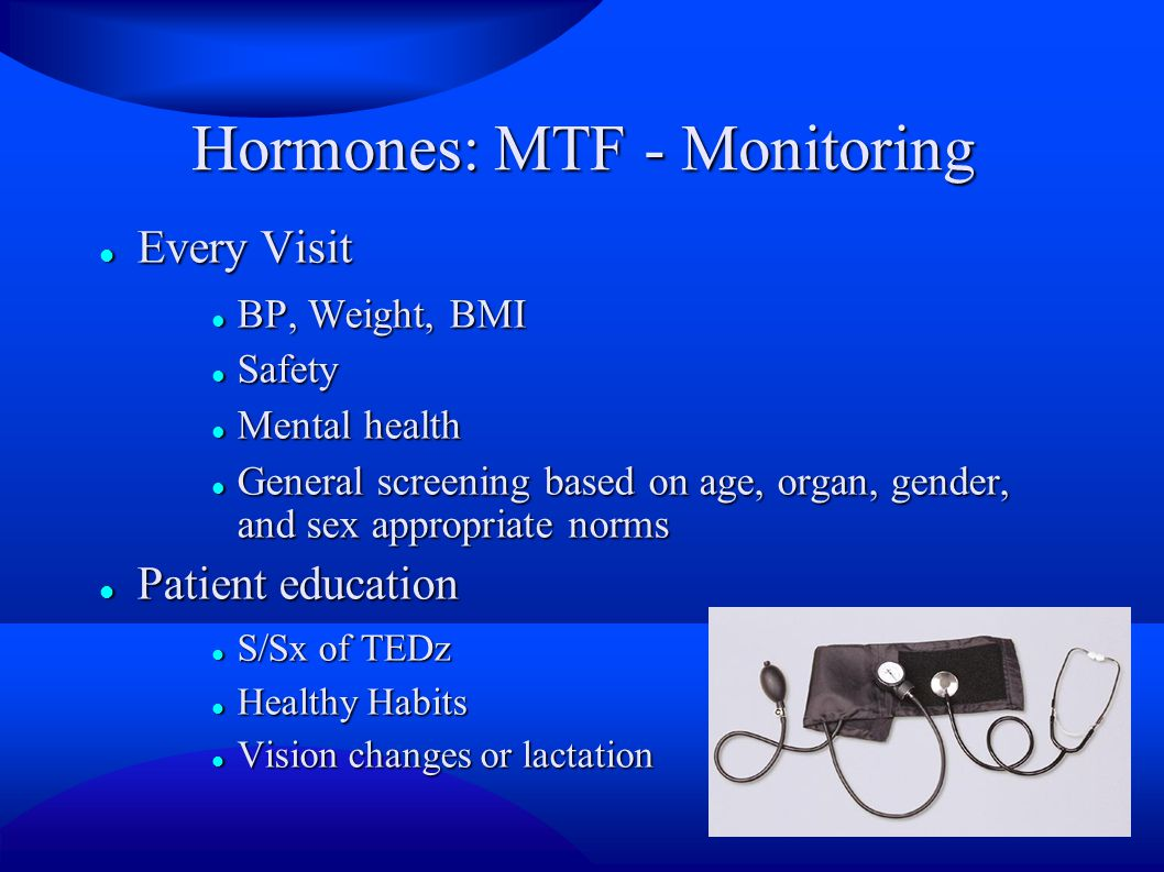 Hormones: MTF - Monitoring