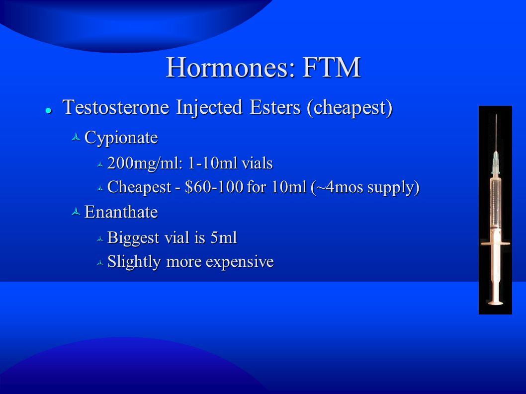 Hormones: FTM Testosterone Injected Esters (cheapest) Cypionate