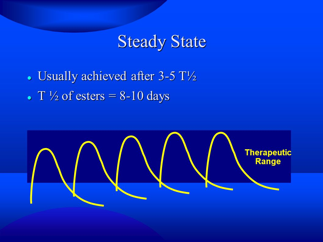 Steady State Usually achieved after 3-5 T½ T ½ of esters = 8-10 days