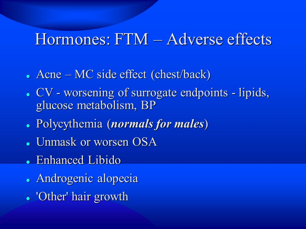 Hormones: FTM – Adverse effects
