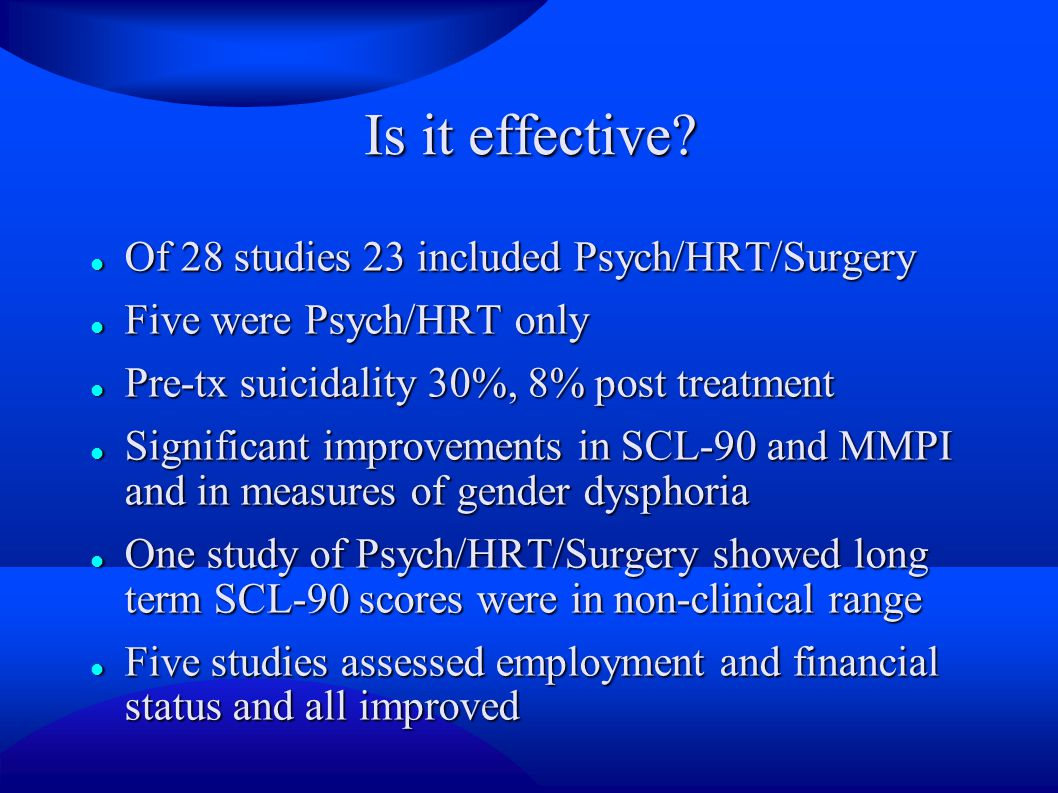 Is it effective Of 28 studies 23 included Psych/HRT/Surgery